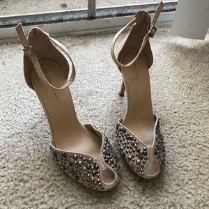 Zara nude studded sandals size 36/6